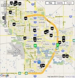 Карта Реджайны с информацией о дорожных работах