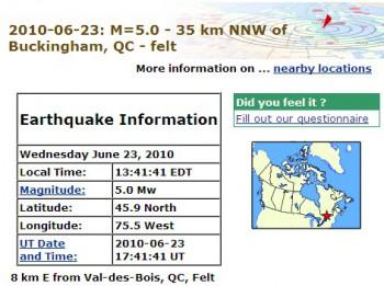 землетрясение Канада