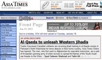 Asia Times Online Пакистан Аль-Каида  терроризм ислам канадцы