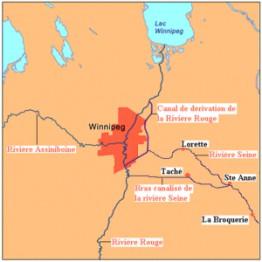 Карта Ред-Ривера и Ассинибойн в районе Виннипега