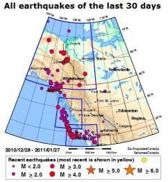 землетрясение Ванкувер Британская Колумбия Канада статистика