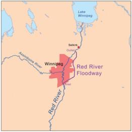 Обводной канал река Ред-Ривер Виннипег