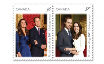Принц Уильям и Кейт Миддлтон почтовая марка Канада